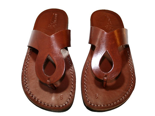 Brown Cross Leather Sandals For Men & Women