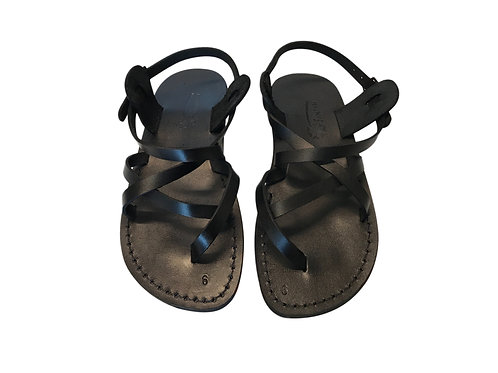 Black Triple Leather Sandals For Men & Women