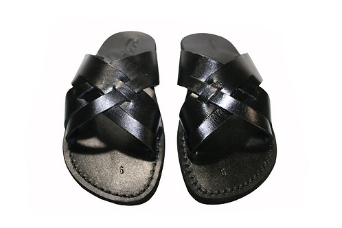 Black Capri Leather Sandals For Men & Women