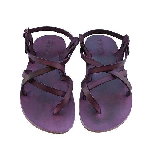 Purple Triple Leather Sandals For Men & Women