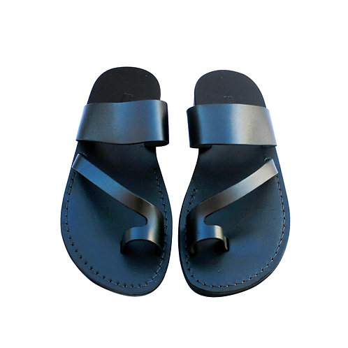 Black Roman Leather Sandals For Men & Women