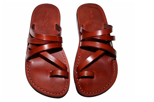 Brown Buckle-Free Leather Sandals For Men & Women