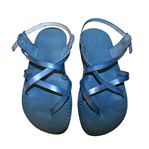 Blue Triple Leather Sandals For Men & Women