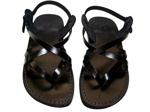 Black Mix Leather Sandals For Men & Women