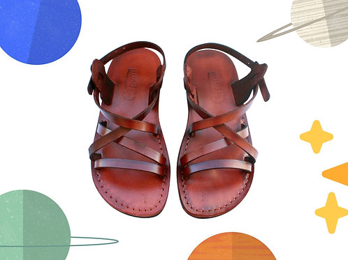 Brown Star Handmade Leather Sandals for Children