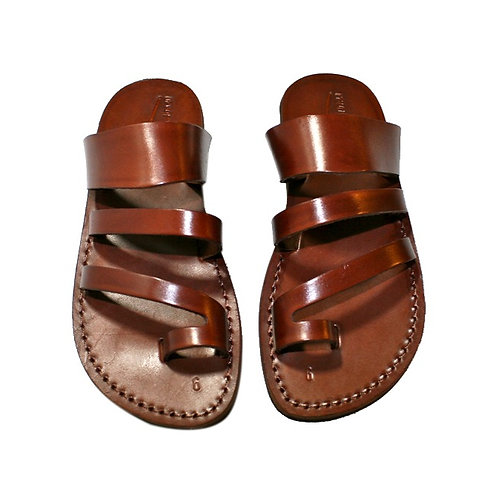 Brown Double Roman Leather Sandals For Men & Women