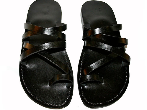 Black Buckle-Free Leather Sandals For Men & Women