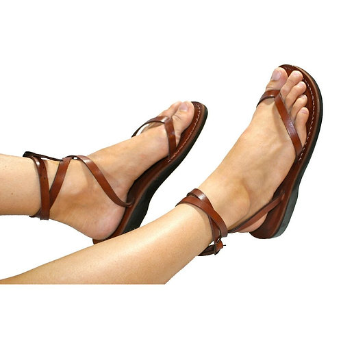 Brown Ankle-Strap Leather Sandals For Men & Women