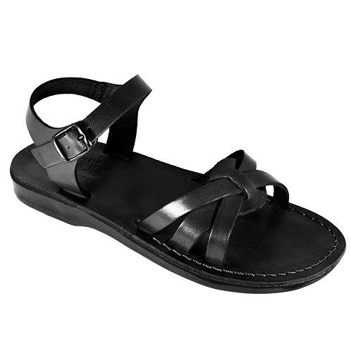 Black Gaia Leather Sandals For Men & Women