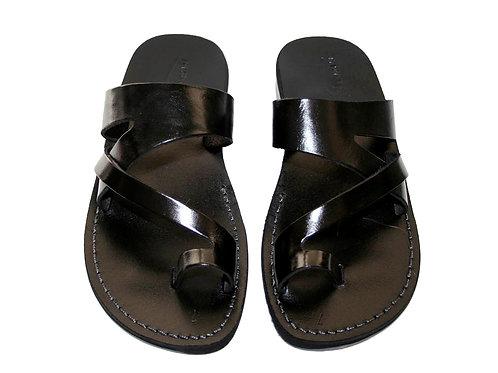 Black Zing Leather Sandals For Men & Women