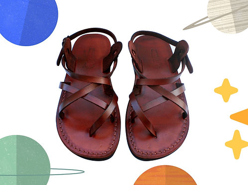 Brown Triple Handmade Leather Sandals for Children