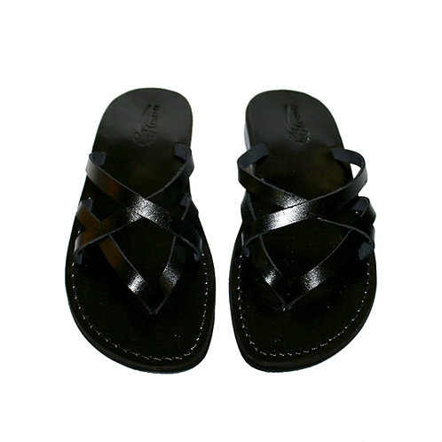 Black Mixin Leather Sandals For Men & Women