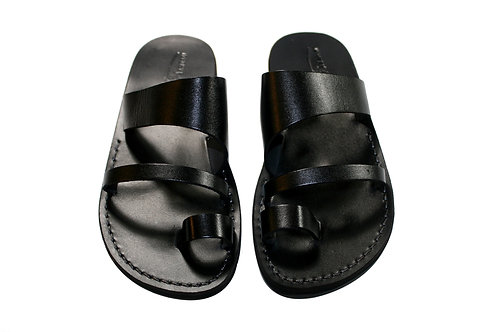 Black Thong Leather Sandals For Men & Women