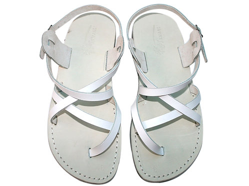 White Triple Leather Sandals For Men & Women