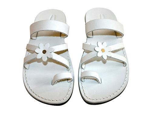 White Flower Cross Leather Sandals For Men & Women
