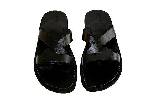 Black Tumble Leather Sandals For Men & Women