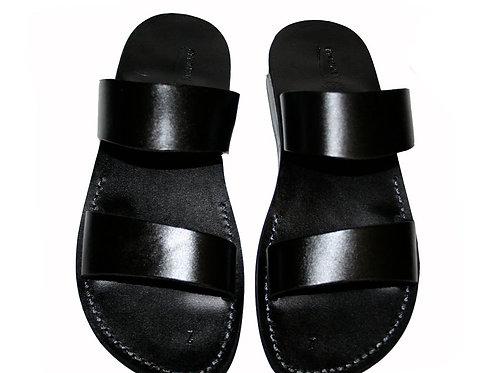 Black Bio Leather Sandals For Men & Women