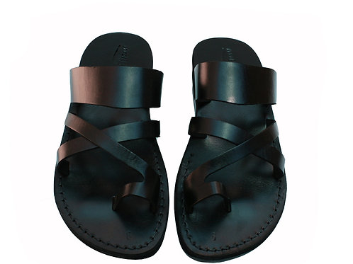 Black Bath Leather Sandals For Men & Women