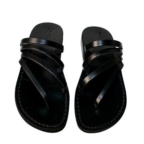 Black Rainbow Leather Sandals For Men & Women