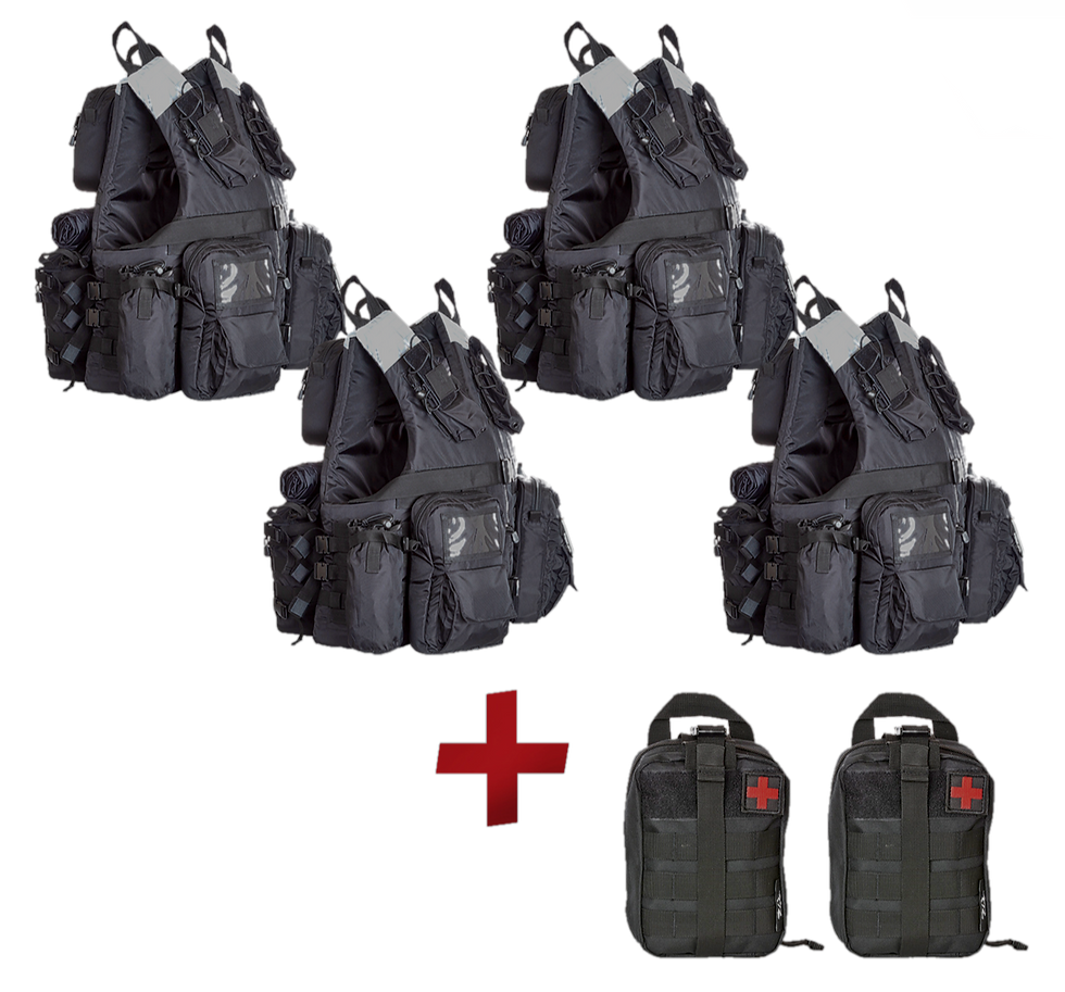 Grab&Go Vest 4-Pack Bundle + two free modular first aid kits