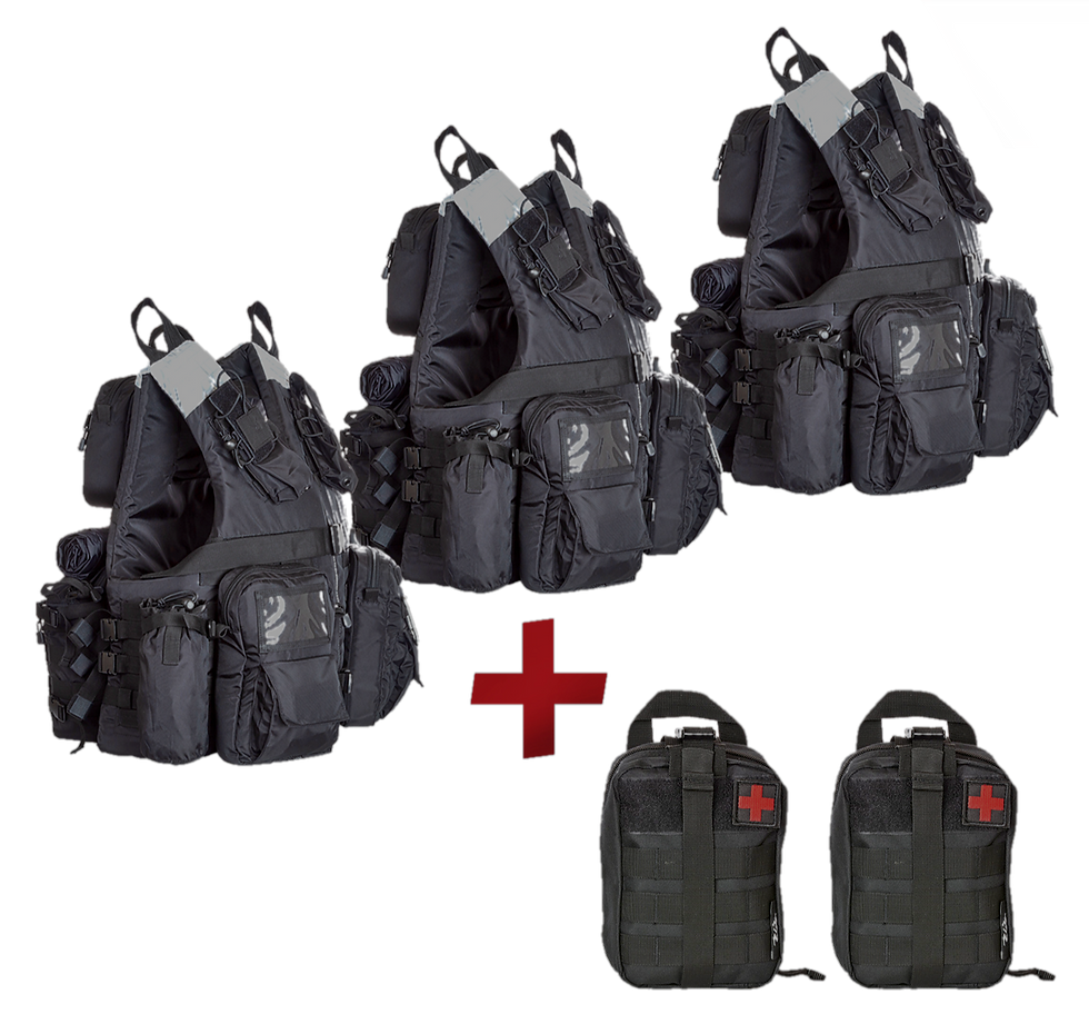 Grab&Go Vest 3-Pack Bundle + two free modular first aid kits