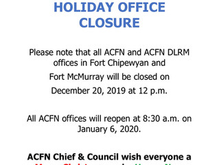 ACFN Holiday Office Closure