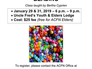 Revised Dates for the Intro to Beading Class