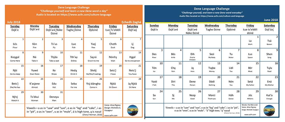 June and July Dene Calendars