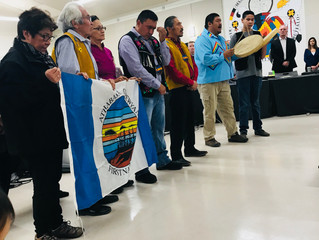 ACFN's Opening Procession at the Teck Hearing this morning in Fort Chipewyan