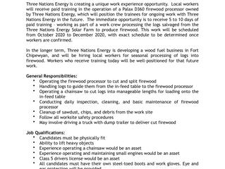 Firewood Processor Operator (Trainee), Three Nations Energy, Fort Chipewyan, AB