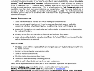 EMPLOYMENT OPPORTUNITY:  Summer Student Youth Administrative Assistant - ACFN-2021-015