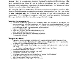 EMPLOYMENT OPPORTUNITY:  Grocery Store Co-Manager Trainee -  KTM/ACFN-2021-020