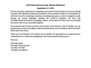 ACFN Chief and Council By-Election Statement  - September 17, 2021