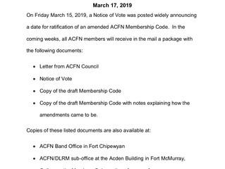 Update to ACFN Members: Membership Code Ratification