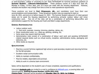 EMPLOYMENT OPPORTUNITY - Summer Student Labourer/Administrator - ACFN-2021-016 - May 19, 2021
