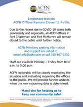 ACFN Offices Remain Closed to Public - COVID-19 Measures
