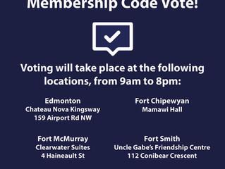 Reminder - Membership Code Ratification June 20th!