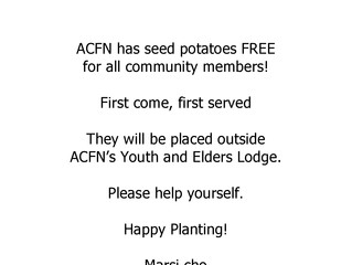 Free Seed Potatoes in Fort Chipewyan