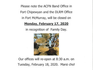 ACFN/DLRM Family Day Office Closure:  February 17, 2020