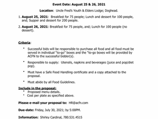 Request for Catering Bids - Dene Days