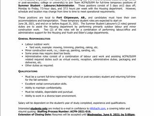 EMPLOYMENT OPPORTUNITY - Summer Student Labourer/Administrator - ACFN-2021-016