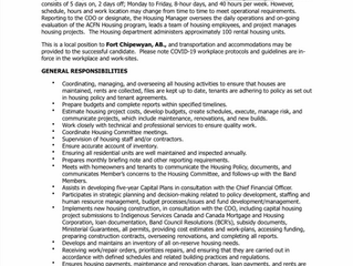 EMPLOYMENT OPPORTUNITY:  Housing Manager - ACFN-2021-017 - June 29, 2021