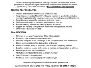 ACFN Job Opportunity in Fort Chipewyan - Housing Receptionist (approx. 1 yr Term)