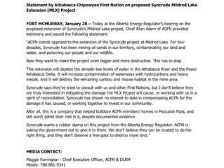 ACFN Statement on the AER Hearings on Syncrude's MLX application