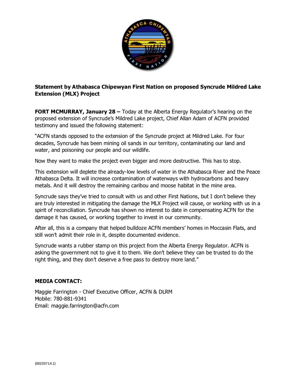ACFN Statement On The AER Hearings Syncrudes MLX Application