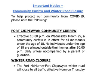 Community Curfew and Winter Road Closure Information