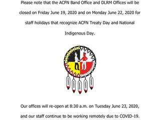 Notice of Office Closure - June 19-22, 2020
