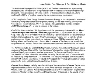 ACFN Announces Major Investment in Alberta Clean Electricity with Concord Pacific