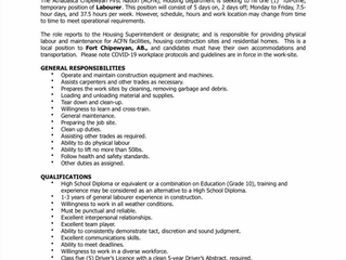EMPLOYMENT OPPORTUNITY - Temporary Labourer - ACFN-2021-017 - May 26, 2021