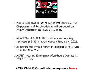 Holiday 2020 Office Closure